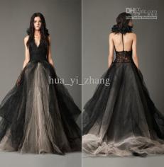 vintage-black-wedding-dresses-princess-halter